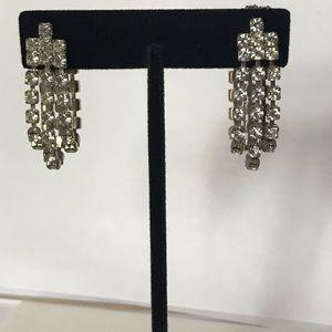Vintage Clip On Triple Strand Rhinestone Earrings